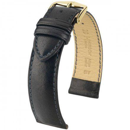 Czarny pasek skórzany 16 mm HIRSCH Merino 01206150-1-16 (M)
