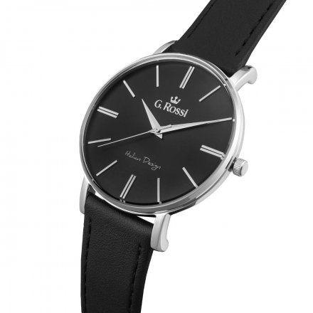 Zegarek G.Rossi srebrny z czarnym paskiem G.R10401A2-1A1