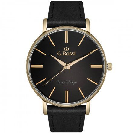 Zegarek G.Rossi złoty z czarnym paskiem G.R10401A2-1A2