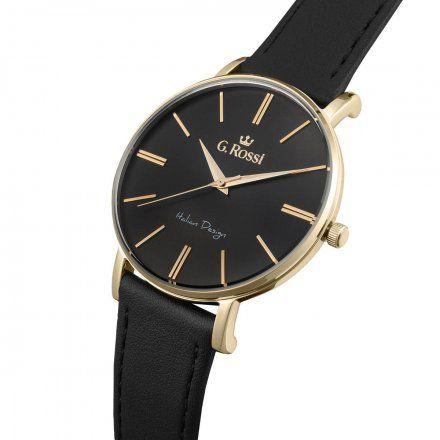 Zegarek Gino Rossi złoty z czarnym paskiem G.R10401A2-1A2
