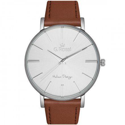 Zegarek Gino Rossi srebrny z brązowym paskiem G.R10401A2-3B1