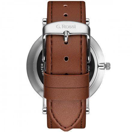 Zegarek G.Rossi srebrny z brązowym paskiem G.R10401A2-3B1