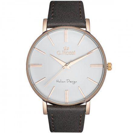 Zegarek G.Rossi różowozłoty z szarym paskiem G.R10401A2-3B4
