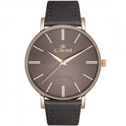 Zegarek Gino Rossi różowozłoty z szarym paskiem G.R10401A2-4B4