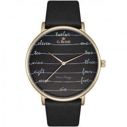 Zegarek damski G.Rossi złoty z czarnym paskiem G.R12600A-1A2