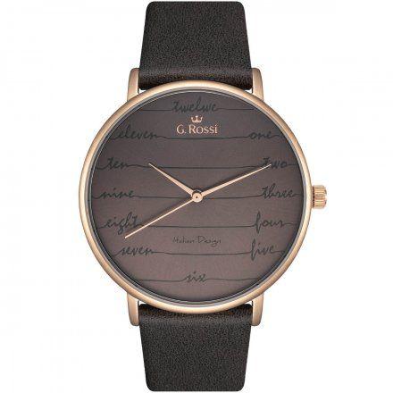 Zegarek damski Gino Rossi różowozłoty z szarym paskiem G.R12600A-1B3
