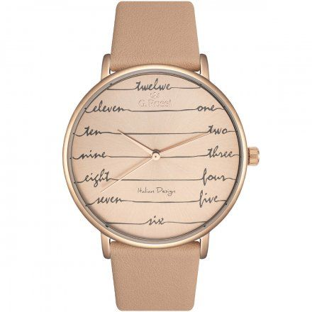 Zegarek damski Gino Rossi różowozłoty z beżowym paskiem G.R12600A-2B3