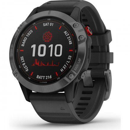 Zegarek Garmin Fenix 6 PRO Solar z czarnym paskiem 010-02410-15