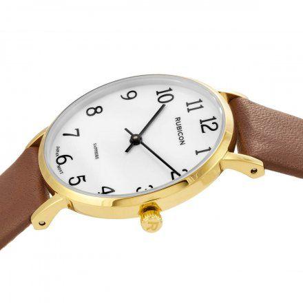 Zegarek damski Rubicon złoty z brązowym paskiem RNAD87GAWX03BX