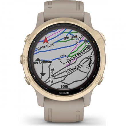 Zegarek Garmin Fenix 6S PRO Solar z jasnopiaskowym paskiem 010-02409-11