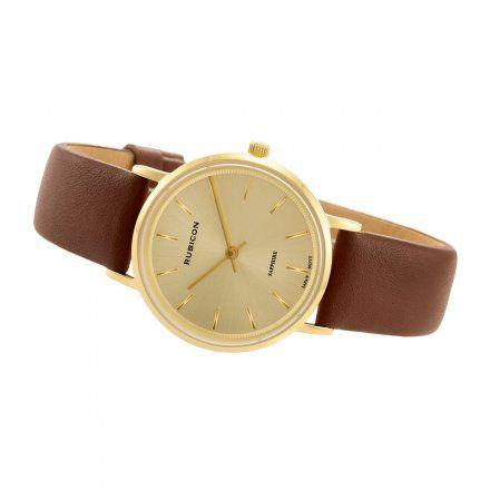 Zegarek damski Rubicon złoty z brązowym paskiem RNAD87GIGX03BX