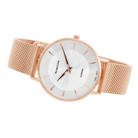 Zegarek damski Rubicon różowozłoty z bransoletą RNBD76RISX03BX