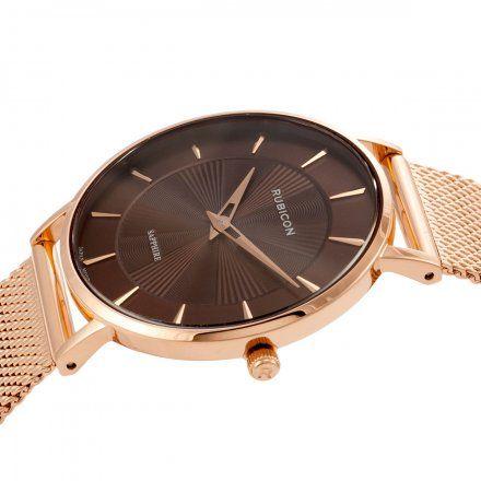 Zegarek damski Rubicon różowozłoty z bransoletą RNBD76RIYX03B1