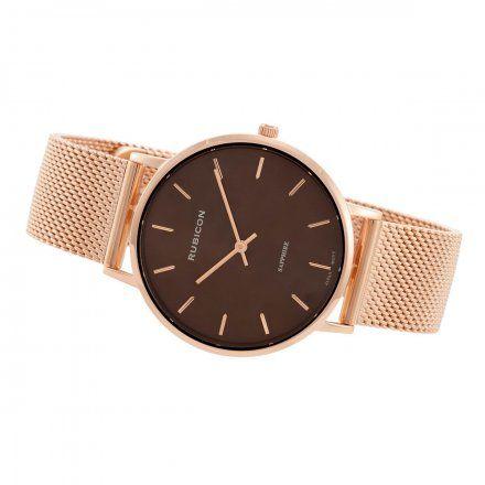 Zegarek damski Rubicon różowozłoty z bransoletą RNBD76RIYX03BX
