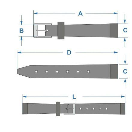 Czarny pasek skórzany 14 mm HIRSCH Diva 01536151-2-14 (M)