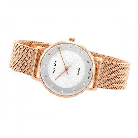 Zegarek damski Rubicon różowozłoty z bransoletą RNBD88RISX03B1