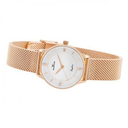Zegarek damski Rubicon różowozłoty z bransoletą RNBE35RISX03BX