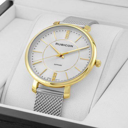 Zegarek damski Rubicon srebrno-złoty z bransoletą RNBE51GISX03B1
