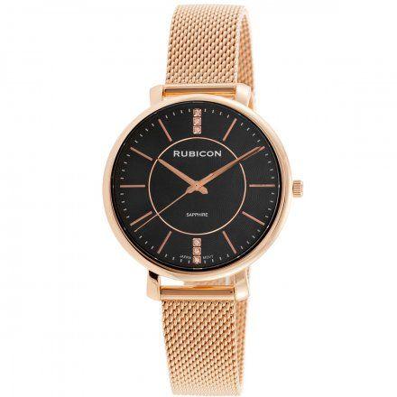 Zegarek damski Rubicon różowozłoty z bransoletą RNBE51RIBX03BX