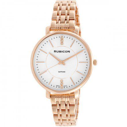 Zegarek damski Rubicon różowozłoty z bransoletą RNBE52RISX03BX
