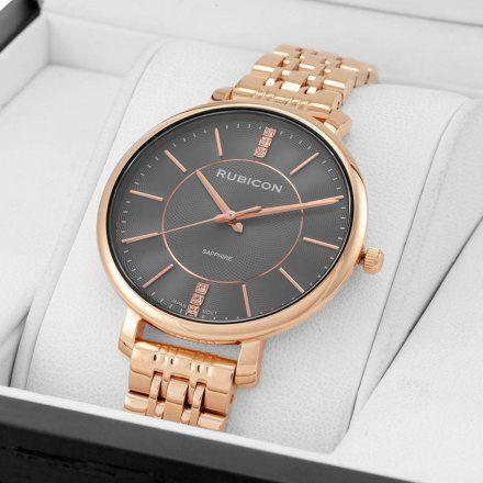 Zegarek damski Rubicon różowozłoty z bransoletą RNBE52RIVX03BX