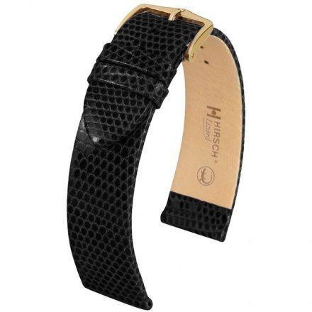 Czarny pasek skórzany 16 mm HIRSCH Lizard 01766050-1-16 (L)