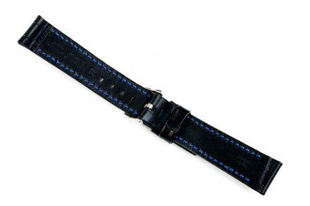 Czarny pasek skórzany 24 mm HIRSCH Grand Duke 02528050-2-24 (L)