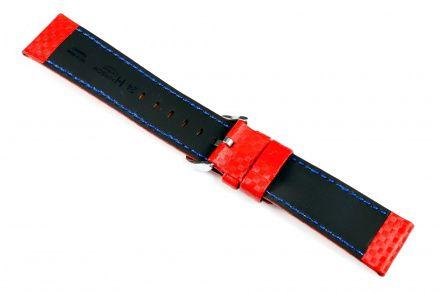 Czerwony pasek skórzany 20 mm HIRSCH Carbon 02592020-2-20 (L)