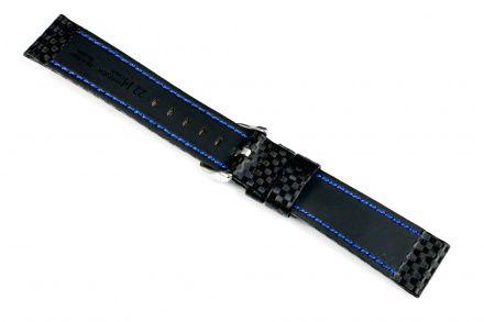 Czarny pasek skórzany 24 mm HIRSCH Carbon 02592050-2-24 (L)