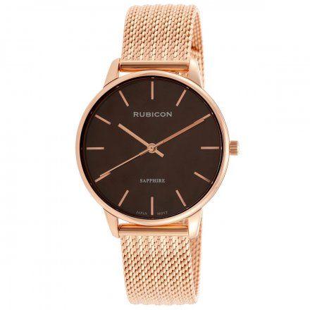 Zegarek damski Rubicon różowozłoty z bransoletą RNBE53RIYX03BX
