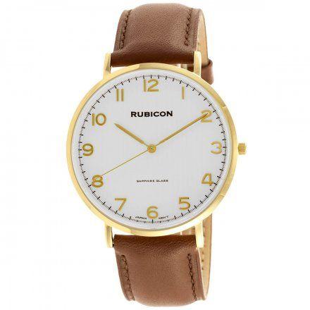 Zegarek męski Rubicon złoty z brązowym paskiem RNCE48GASX03BX