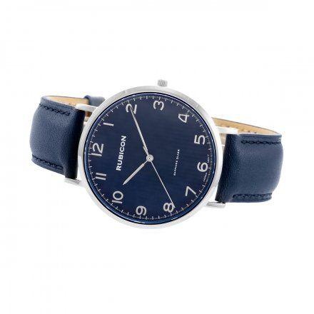 Zegarek męski Rubicon srebrny z granatowym paskiem RNCE48SADX03BX