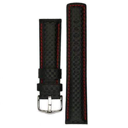 Czarny pasek skórzany 24 mm HIRSCH Carbon 02592052-2-24 (L)