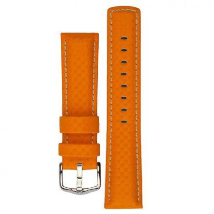Pomarańczowy pasek skórzany 24 mm HIRSCH Carbon 02592076-2-24 (L)
