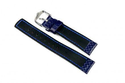Niebieski pasek skórzany 24 mm HIRSCH Carbon 02592080-2-24 (L)