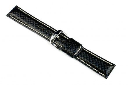 Czarny pasek skórzany 20 mm HIRSCH Carbon 02592250-2-20 (XL)