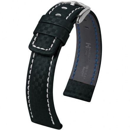 Czarny pasek skórzany 20 mm HIRSCH Carbon 02592250-2-22 (XL)