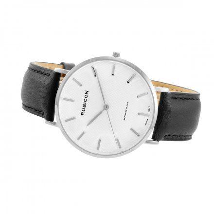 Zegarek męski Rubicon srebrny z czarnym paskiem RNCE48SISX03BX