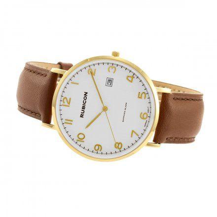 Zegarek męski Rubicon złoty z brązowym paskiem RNCE49GASX03BX