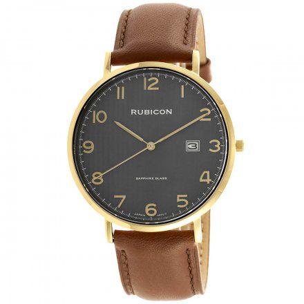 Zegarek męski Rubicon złoty z brązowym paskiem RNCE49GAVX03BX