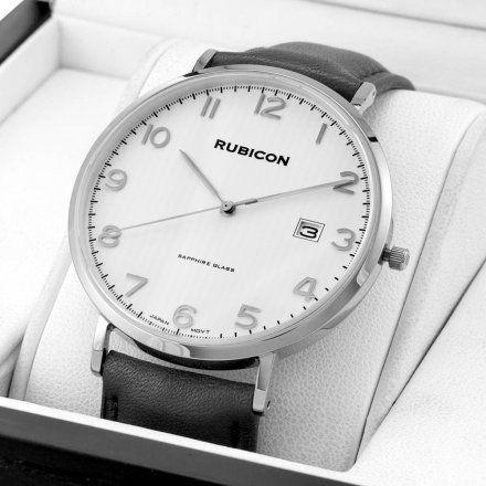 Zegarek męski Rubicon srebrny z czarnym paskiem RNCE49SASX03BX
