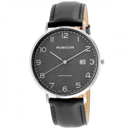 Zegarek męski Rubicon srebrny z czarnym paskiem RNCE49SAVX03BX