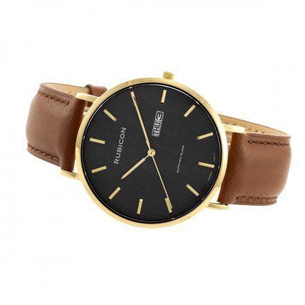 Zegarek męski Rubicon złoty z brązowym paskiem RNCE50GIBX03BX
