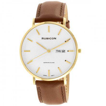 Zegarek męski Rubicon złoty z brązowym paskiem RNCE50GISX03BX