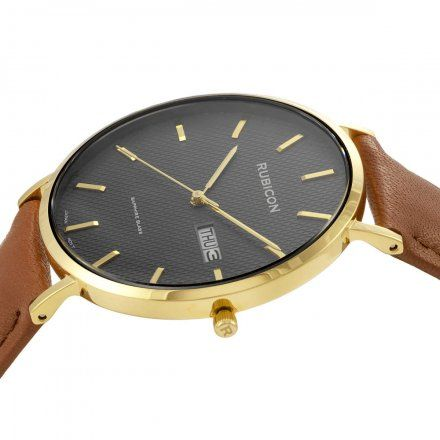 Zegarek męski Rubicon złoty z brązowym paskiem RNCE50GIVX03BX