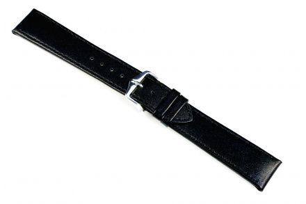 Czarny pasek skórzany 24 mm HIRSCH Osiris 03475050-2-24 (L)
