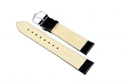 Czarny pasek skórzany 17 mm HIRSCH Osiris 03475050-1-17 (L)