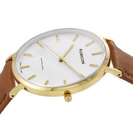 Zegarek męski Rubicon złoty z brązowym paskiem RNCE48GISX03BX