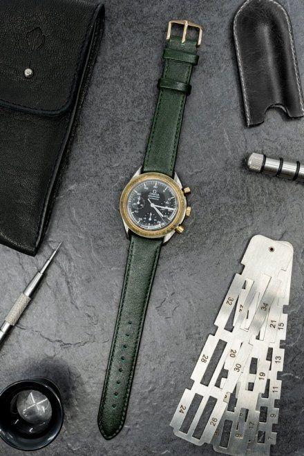 Zielony pasek skórzany 16 mm HIRSCH Osiris 03475140-1-16 (M)