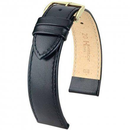 Czarny pasek skórzany 15 mm HIRSCH Osiris 03475150-1-15 (M)